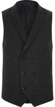River Island Mens Dark grey heritage check suit vest