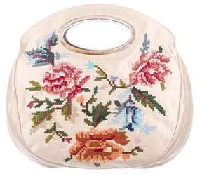 Oscar de la Renta Embroidered Satin Satchel