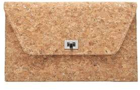 La Regale Metallic Speckle Cork Envelope Clutch.