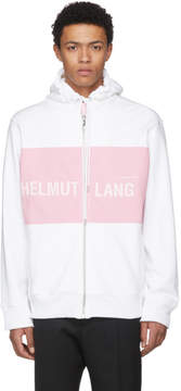 Helmut Lang White and Pink Shayne Oliver Campaign Print Panel Zip Hoodie
