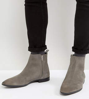 Asos Wide Fit Chelsea Boots In Gray Suede With Pointed Toe And Zips
