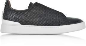 Ermenegildo Zegna Black Triple Stitch Woven Leather Low Top Sneakers