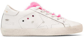 Golden Goose Deluxe Brand White and Pink Fur Superstar Sneakers