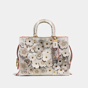 COACH ROGUE IN GLOVETANNED LEATHER WITH EXOTIC TEA ROSE - BRASS/CHALK