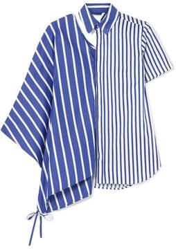 Facetasm Asymmetric Cutout Striped Cotton-poplin Shirt - Blue
