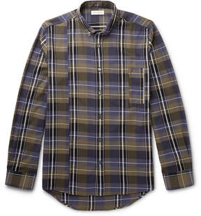 Public School Retor Button-Down Collar Panelled Checked Cotton Shirt