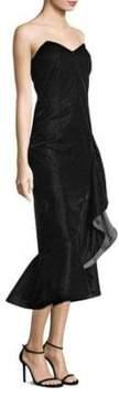 Shoshanna Velvet Ruffled Sweetheart Dress