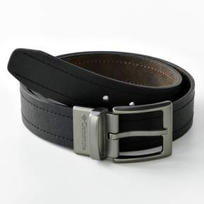 Columbia Men's Logo Buckle Reversible Leather Belt