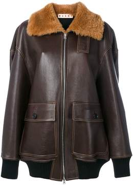 Marni shearling trim jacket