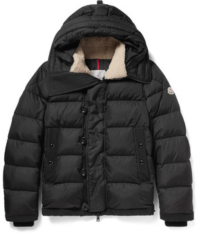 Moncler Pyrenees Faux Shearling-Trimmed Quilted Nylon Hooded Down Jacket