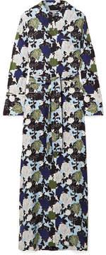 Equipment Britten Floral-print Silk Crepe De Chine Maxi Dress - Blue