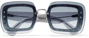 Miu Miu Square-frame Glittered Acetate Sunglasses - Blue