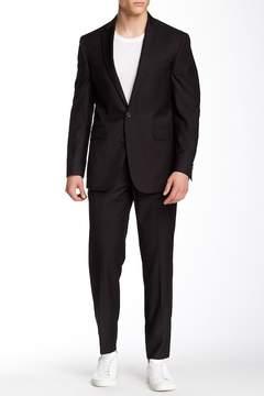 Kenneth Cole Reaction Solid Black Two Button Notch Lapel Suit