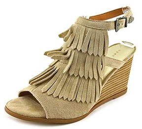 Very Volatile Notion Women Open Toe Suede Wedge Sandal.