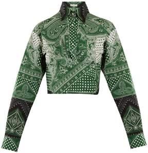 Etro Graphic-print cotton-blend wrap shirt