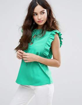 Fashion Union Sleeveless Top With Ruffle & Tie Detail