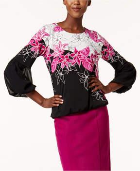 Alfani Printed Bubble-Sleeve Top, Created for Macy's