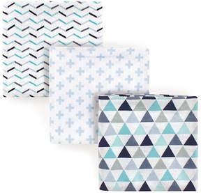 Luvable Friends Blue Geometric Receiving Blanket Set