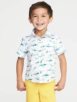 Old Navy Shark-Print Built-In Flex Poplin Shirt for Toddler Boys
