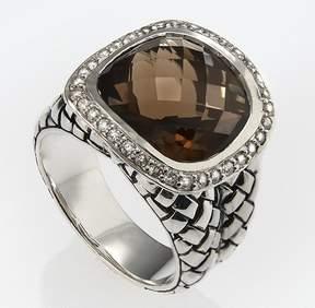 Scott Kay Sterling Silver Smokey Quartz Diamond Size 7 Ring R1375SPAQDL-7