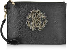 Roberto Cavalli Black Leather Unisex Zip Clutch w/Gold Studs RC Logo