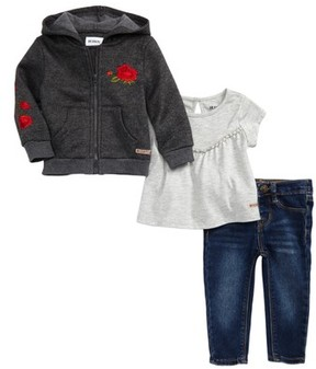 Hudson Toddler Girl's Embroidered Hoodie, Tee & Jeans Set
