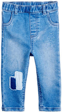 First Impressions Shadow-Patches Pull-On Jeans, Baby Girls (0-24 months), Created for Macy's