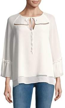 Ellen Tracy Sheer Bell-Sleeve Blouse