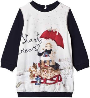 Mayoral Navy Snow Girl Print Sweat Dress