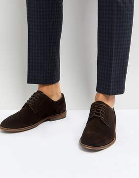Asos Casual Lace Up Shoes In Brown Suede With Natural Sole