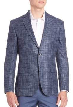 Saks Fifth Avenue COLLECTION BY SAMUELSOHN Classic-Fit Check-Print Wool, Silk & Linen Sportcoat