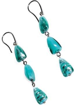 Antica Murrina Veneziana Marina 1 - Turquoise Green Murano Glass and Silver Leaf Dangling Earrings