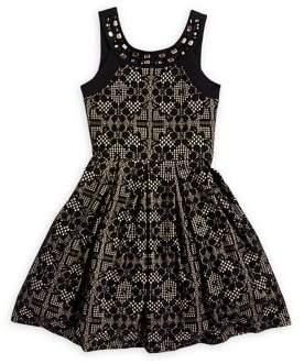 Iris & Ivy Girl's Beaded Geometric Lace Dress
