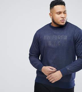 Tommy Hilfiger PLUS Crew Neck Sweater Logo Applique in Navy Marl