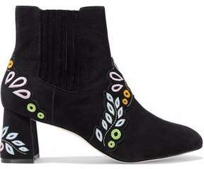 Sophia Webster Embroidered Suede Ankle Boots