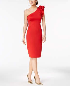 Betsy & Adam Floral-Applique One-Shoulder Dress