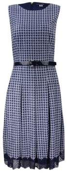 Tommy Hilfiger Women's Belted Houndstooth Fit & Flare Dress