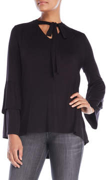 August Silk Tie Neck Ruffle Top