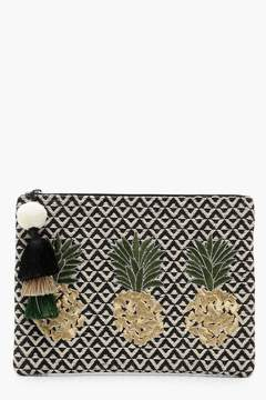 boohoo Pineapple Embroidery Clutch