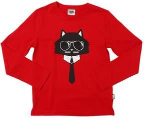 Karl Lagerfeld Choupette Printed Cotton Jersey T-Shirt
