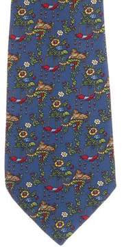 Salvatore Ferragamo Jungle Tiger Print Silk Tie