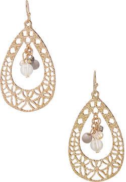 Carole Goldtone Openwork Beaded Drop Earrings