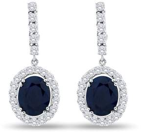 14K White Gold with 5.51ct. Blue Sapphire and 1.31ct. Diamond Earrings
