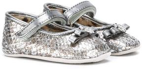 Roberto Cavalli metallic crib shoes