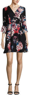 As U Wish Long Sleeve Floral Wrap Dress-Juniors