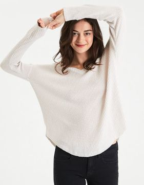 American Eagle Outfitters AE Soft & Sexy Plush Waffle Knit Top