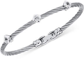 Charriol White Topaz Cable Bangle Bracelet (1/2 ct. t.w.) in Stainless Steel & Sterling Silver