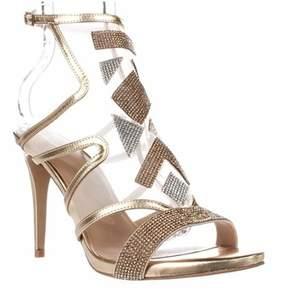Thalia Sodi Ts35 Regalo Rhinestone Mesh Dress Sandals, Champagne.
