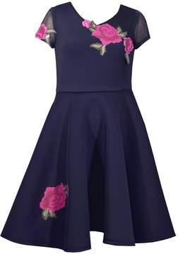 Bonnie Jean Girls 7-16 Floral Applique Scuba Dress