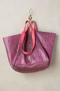 Anthropologie Shimmered Straw Tote Bag